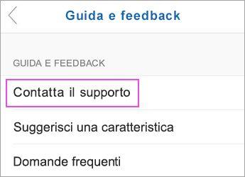 Scegliere Contatta il supporto