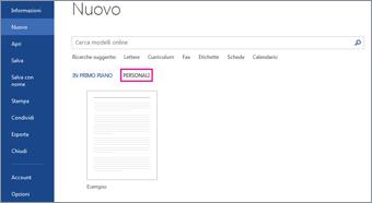 scheda personale con il modello personalizzato dopo aver fatto clic su file > nuovo