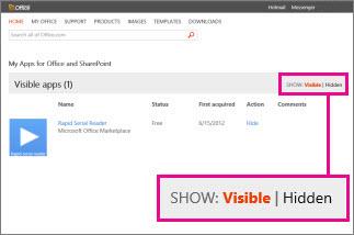 Mostrare app per Office visibili o nascoste
