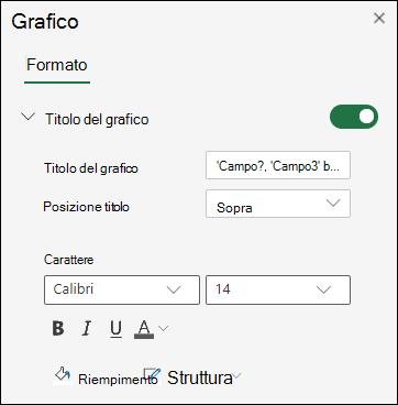 Opzioni titolo grafico per Excel sul web