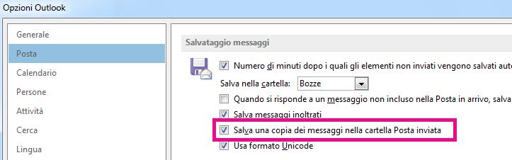"""La casella di controllo """"Salva una copia dei messaggi nella cartella Posta inviata"""" è selezionata."""