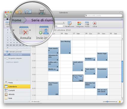 Interfaccia di Outlook che mostra la nuova barra multifunzione