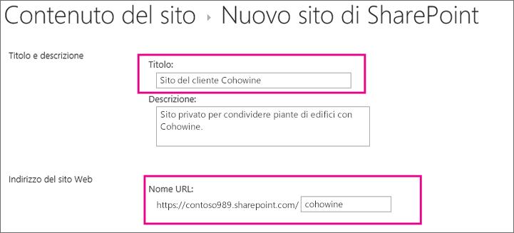 Nella casella Titolo digitare un nome per il sito secondario, nella casella URL immettere il nome del cliente per aggiungerlo all'URL del sito.