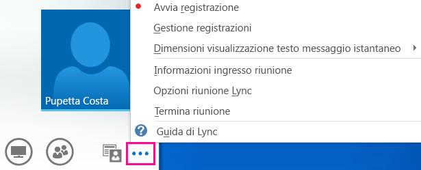 Schermata delle altre opzioni disponibili per una riunione Lync