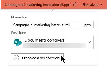 Selezionare il nome del file sulla barra del titolo per accedere alla cronologia delle versioni del file