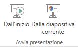 Avviare la presentazione passando alla scheda Visualizza e scegliendo uno dei pulsanti Avvia presentazione.