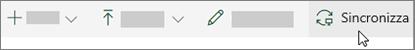 Barra degli strumenti di SharePoint Online con l'opzione di sincronizzazione selezionata
