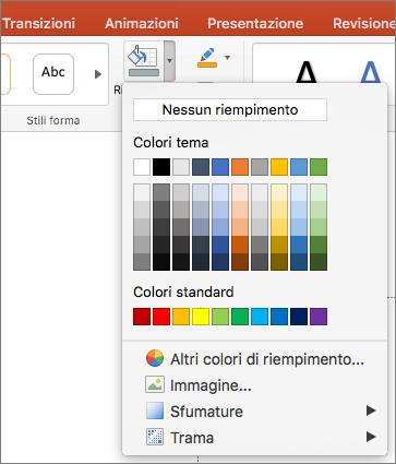 Screenshot che mostra le opzioni disponibili nel menu Riempimento forma, inclusi Nessun riempimento, i colori del tema, i colori Standard, altri colori di riempimento, immagine, una sfumatura e trama.