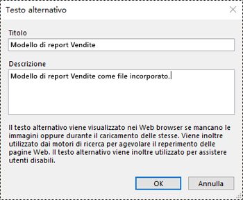 Finestra di dialogo Aggiungi testo alternativo a file come immagine