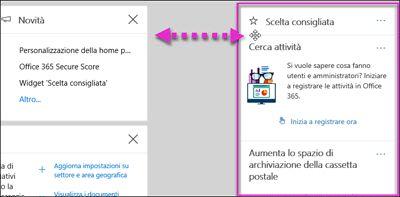 Azione che mostra un widget del Centro sicurezza e conformità che viene spostato a sinistra tramite l'opzione Personalizza della home page