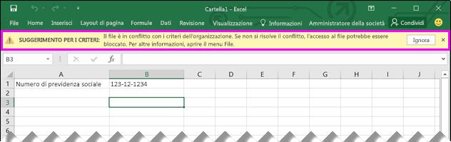 Barra dei messaggi con suggerimento per i criteri in Excel 2016
