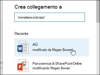 Aggiungere un collegamento in una raccolta documenti a un elemento recente
