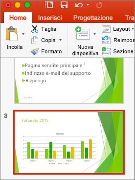 Diapositiva selezionata nel riquadro anteprima in PowerPoint 2016 per Mac