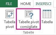 Tabelle pivot consigliate nella scheda Inserisci di Excel
