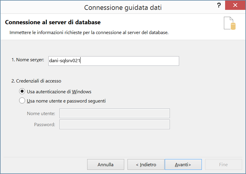 Connessione al server di database