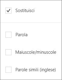 Opzioni Trova per Word Mobile: Sostituisci, Parola, Maiuscole/minuscole, Parole simili.
