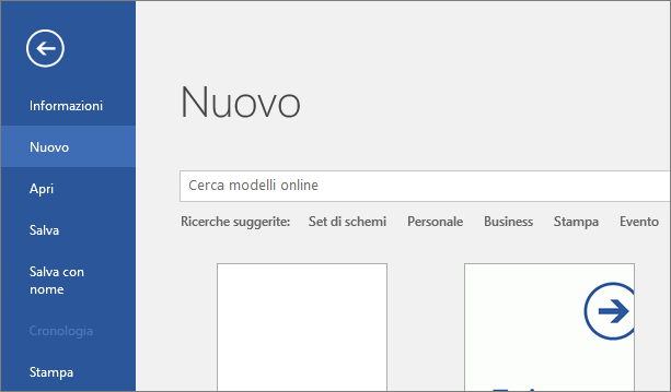 Schermata File > Nuovo in Word 2016