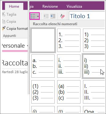 Screenshot che illustra come aggiungere elenchi numerati a una pagina in OneNote 2016.