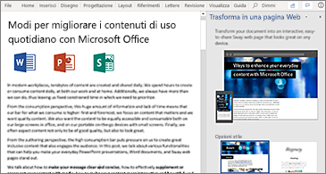 Documento a sinistra e riquadro Trasforma in pagina Web a destra