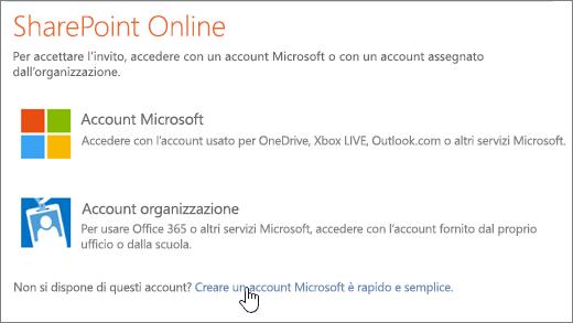 Screenshot della schermata di accesso a SharePoint Online, con il collegamento per la creazione di un account Microsoft selezionato.