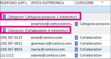 Fare clic sull'intestazione della colonna Categorie per ordinare l'elenco in base al colore.