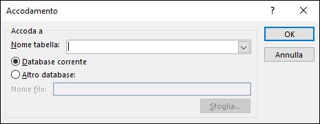 Screenshot della finestra di dialogo Query di accodamento
