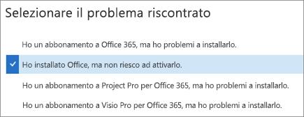 Visualizza l'opzione di attivazione di Office nell'Assistente supporto e ripristino