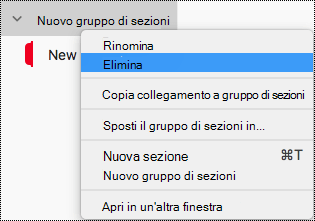 Elimina gruppo di sezioni in OneNote per Mac