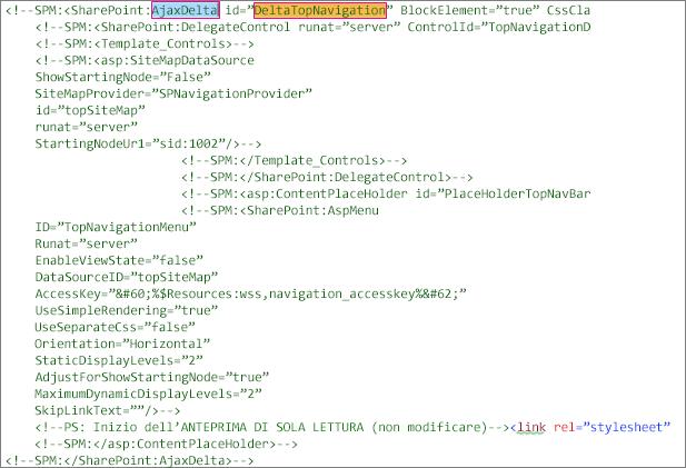 Screenshot del codice DeltaTopNavigation da eliminare