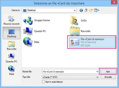 Scegliere il file vCard da importare in CSV.