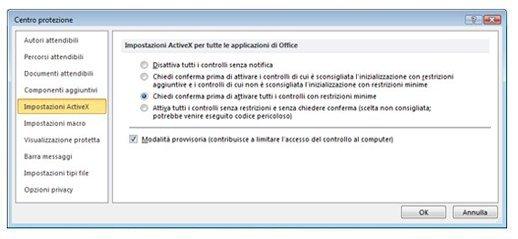 Area Impostazioni ActiveX di Centro protezione