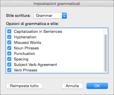 In Impostazioni grammaticali selezionare le categorie di problemi che devono essere controllati da Word.