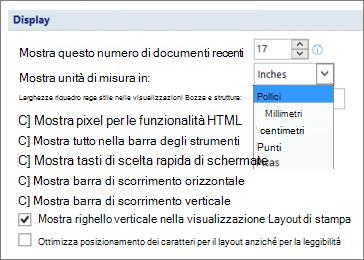Screenshot che mostra l'opzione selezionata per mostrare il righello verticale in visualizzazione Layout di stampa e opzioni per le unità di misura, ad esempio pollici o centimetri