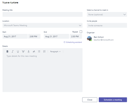 Pianificare una nuova riunione facendo clic sulla scheda riunioni del team