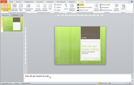 Mostra il riquadro delle note sotto finestra delle diapositive