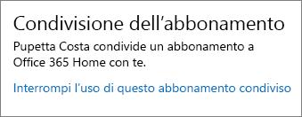 Sezione Condivisione dell'abbonamento della pagina Account personale con il collegamento Interrompi l'uso di questo abbonamento condiviso.