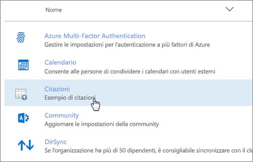 Componente aggiuntivo distribuito nell'interfaccia di amministrazione di Office 365