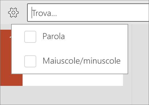 Opzioni Maiuscole/minuscole e Parola in PowerPoint per Android.