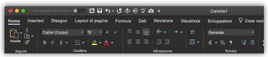 immagine della barra multifunzione di Excel in modalità scura