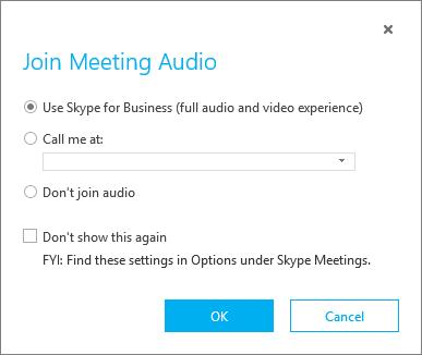 Schermata Partecipa all'audio della riunione