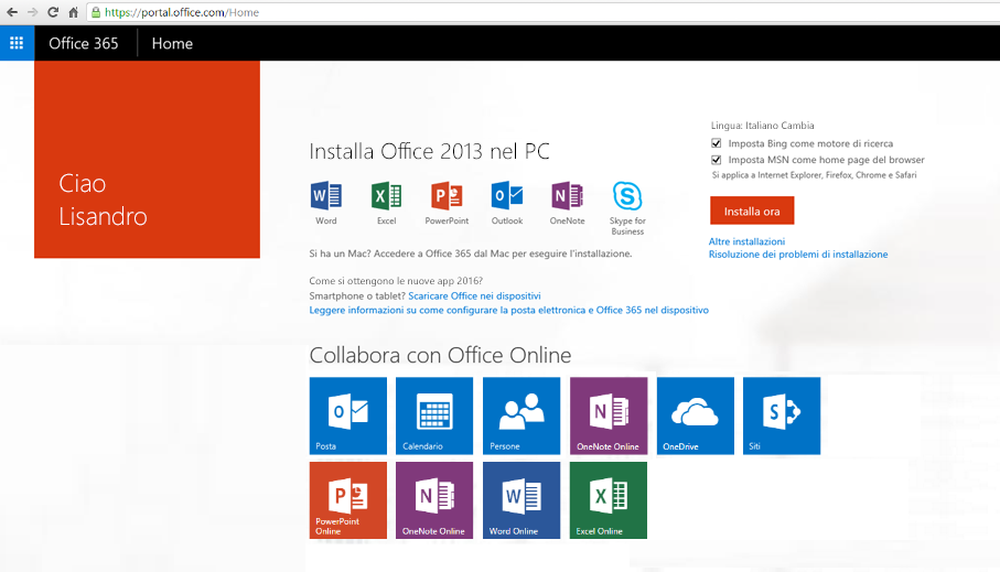 Screenshot su come installare Office 365 in un PC.