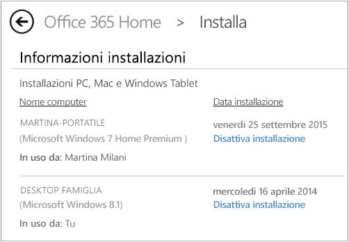 Pagina di installazione che mostra il nome del computer e quello della persona che ha installato Office.