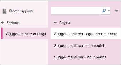 Sezioni e pagine in OneNote Online