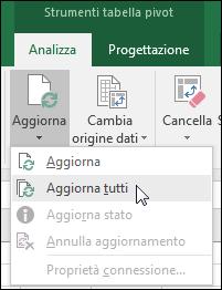 Aggiornare tutte le tabelle pivot dalla barra multifunzione > Strumenti tabella pivot > Analizza > Dati, fare clic sulla freccia sotto il pulsante Aggiorna e selezionare Aggiorna tutto.