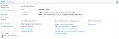 Pagina Impostazioni raccolta in cui è visualizzato il collegamento Impostazioni controllo versioni