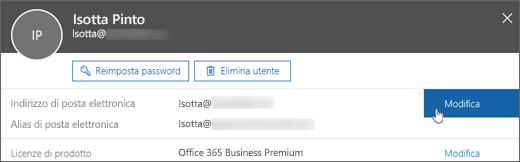 Accanto all'indirizzo di posta elettronica principale scegliere Modifica.