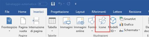 Il gruppo Illustrazioni contiene strumenti che consentono di aggiungere al documento forme, icone, SmartArt e altri elementi.
