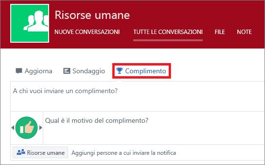 Inviare un complimento a una persona