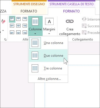 Screenshot di Strumenti casella di testo - Colonne in Publisher.