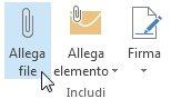 Comando Allega file nella barra multifunzione